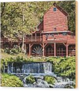 Old Mill And Waterfall Wood Print