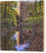 Old Mill Reflected In A Creek Wood Print
