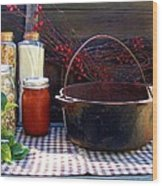 Old Miners Outdoor Kitchen Table Still Life Wood Print