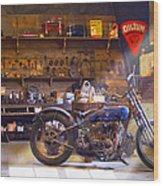 Old Motorcycle Shop 2 Wood Print