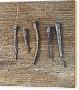 Old Nails On A Wooden Table Wood Print