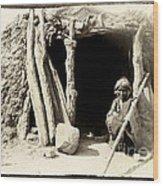 Old Navajo At His Hogan Wood Print