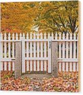 Old New England White Picket Fence Wood Print