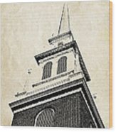 Old North Church In Boston Wood Print