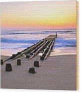 Old Ocean Pier At Dawn Wood Print