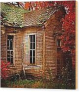 Old One Room School House In Autumn Wood Print