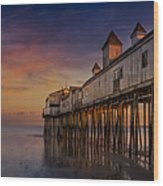 Old Orchard Beach Pier Sunset Wood Print by Susan Candelario