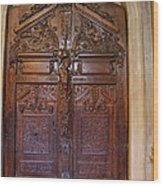 Old Ornamented Door Wood Print