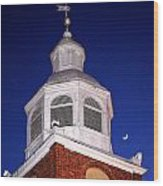 Old Otterbein Umc Moon And Bell Tower Wood Print