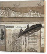 Old Papers And A Feather Wood Print by Carol Leigh