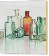 Old Pharmacys Glassware Wood Print