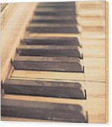 Old Piano Keys Wood Print