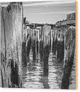 Old Pier In Provincetown Cape Cod Wood Print