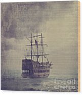 Old Pirate Ship Wood Print