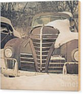 Old Plymouth Classic Car In The Snow Wood Print