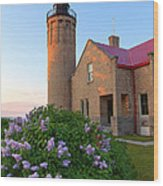 Old Point Mackinac Lighthouse And Lilacs Wood Print
