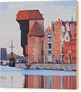Old Port Crane In Gdansk Wood Print