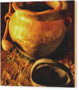 Old Pot And Ladle Wood Print