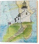Old Pt Loma Lighthouse Ca Nautical Chart Map Art Cathy Peek Wood Print