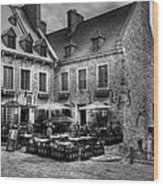 Old Quebec City Bw Wood Print