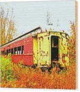 Old Rail Car Wood Print