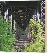Old Railroad Car Bridge Wood Print
