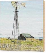 Old Ranch Windmill Wood Print