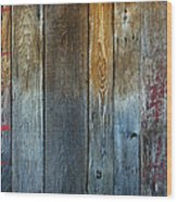 Old Reclaimed Wood - Rustic Red Painted Wall  Wood Print