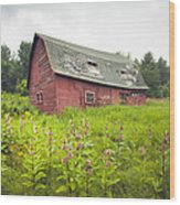 Old Red Barn In A Field - Rustic Landscapes Wood Print