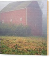 Old Red Barn In Fog Wood Print