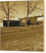 Old Red Barn In Sepia Wood Print