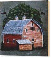 Old Red Barn On Slate Wood Print