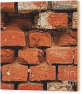 Old Red Brick Wall Wood Print