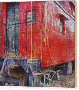 Old Red Caboose Wood Print