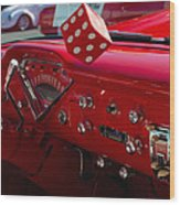 Old Red Chevy Dash Wood Print