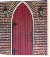 Old Red Door Bullet Shaped Wood Print