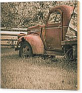 Old Red Farm Truck Wood Print