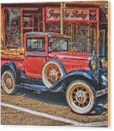 Old Red Pickup Truck Wood Print