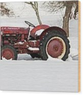 Old Red Tractor Wood Print