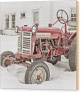Old Red Tractor In The Snow Wood Print