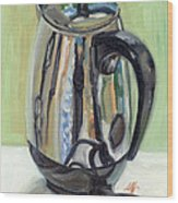 Old Reliable Stainless Steel Coffee Perker Wood Print by Jennie Traill Schaeffer