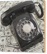 Old Rotary Phone On Money Background Wood Print