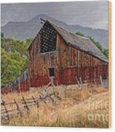 Old Rural Barn In Thunderstorm - Utah Wood Print
