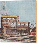 Old Rustic Schnitzer Steel Building With Crane And Ship Wood Print by Asha Carolyn Young