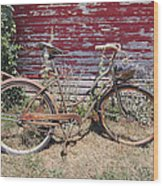 Old Rusty Bicycle With Basket Of Lavender Flowers Wood Print
