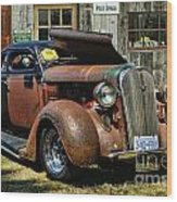 Old Rusty Car At The Old Shop  Ca5083a-14 Wood Print