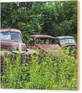 Old Rusty Cars Wood Print