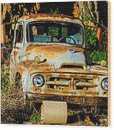 Old Rusty International Flatbed Truck Wood Print
