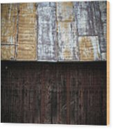Old Rusty Tin Roof Barn Wood Print by Edward Fielding