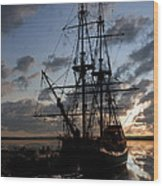 Old Sailboat At Sunset Wood Print